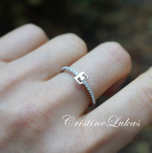Dainty Initial Rings With Cubic Zirconia  Stones In Solid Gold