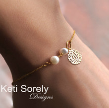 Monogram Bracelet or Anklet with Freshwater Pearls - Choose Your Metal