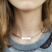 Engraved Bar Necklace with Large Chain - Choose Your Metal