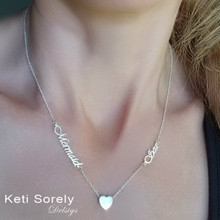 Family Names Necklace  With Floating Heart - Choose Metal