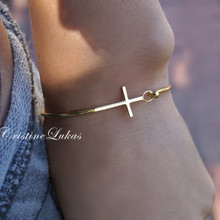 Sideways Cross Bangle  in Sterling Silver or Solid Gold