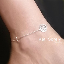Sideways Cross Anklet with Monogrammed Initials - Choose Your Metal