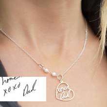 Heart Necklace with Handwriting Words & Pearls  - Choose Your Metal