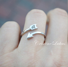 Double Wrap Adjustable Arrow Ring With Initial - Choose Your Metal