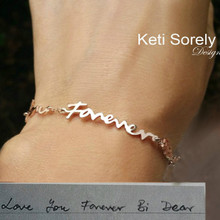 Personalized Message Bracelet With Handwriting - Choose Your Metal