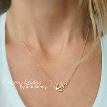 Solid Gold Anchor Necklace With Cross - White Gold, Yellow Gold or Rose Gold