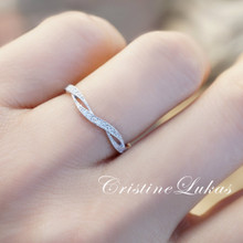 30% off - Sideways Criss Cross Ring with CZ Stones - Sterling Silver