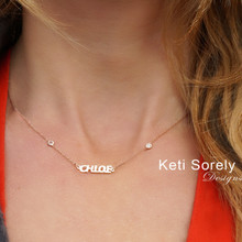Dainty Name Necklace With CZ Stone In Bezel Frame -  Choose Your Metal