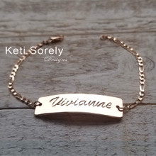 Hand Engraved Unisex Bar Bracelet with Name, Date or Signature.  Choose Your Metal