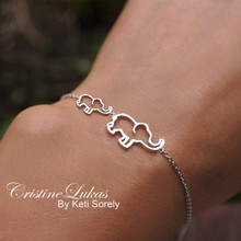 Mammy & Baby Elephant Bracelet - Choose Metal