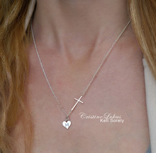 Engraved Heart Charm Necklace with Celebrity Sideways Cross