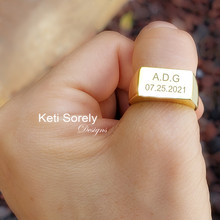 Personalized Man's Signet Style Bar Ring - Choose Your Metal