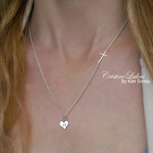 Heart Charm Necklace With Initial And Celebrity Sideways Cross