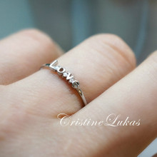 "Inspirational Ring ""Love"" With Cubic Zirconi Stones in Sterling Silver or Solid Gold"
