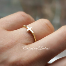 Sideways Cross Ring with Rope Design - Choose Your Metal
