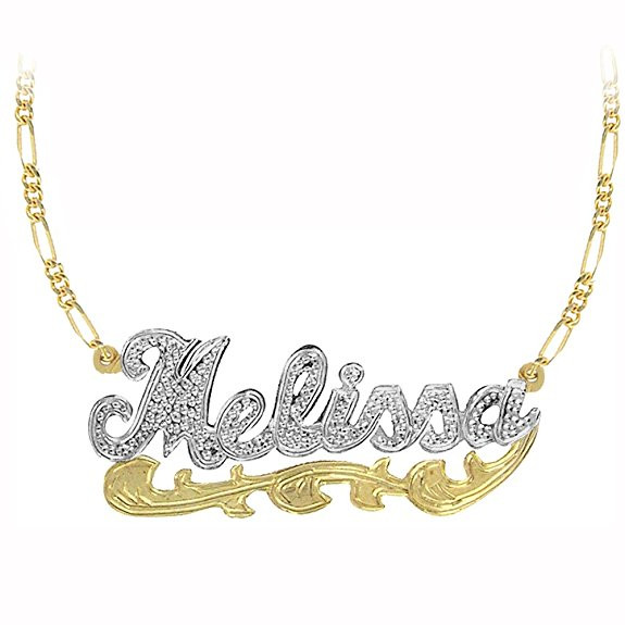 af86130806fbc Personalized 2-Tone Name Necklace with Diamond Beading.