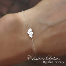 Engraved Hearts Bracelet With Couples Initials - Choose Your Metal