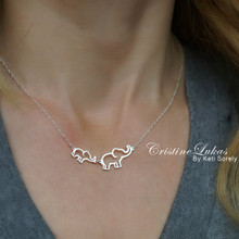 Mother & Baby Elephant Love Necklace - Choose Metal
