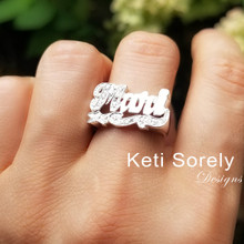Personalized Name Ring with Cubic Zirconia Stones  - Choose Your Metal