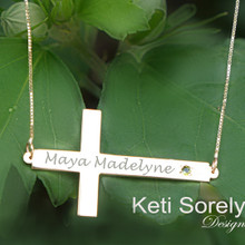 Sideways Cross Necklace with Name & Birthstone - Choose Metal