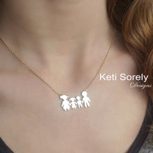 Personalized Family Silhouette  Necklace - Choose Your Metal