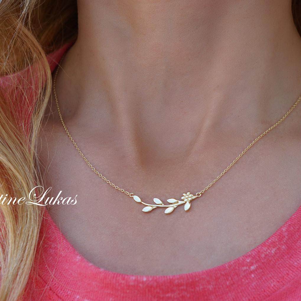 d91ee6352 Olive Branch with Leaves & Flower Necklace in Solid Karat Gold ...