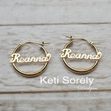 Kids Personalized Hoop Name Earrings  - Choose Metal