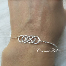 Double Infinity charm Charm Bracelet or Anklet With Infinity - Choose Metal