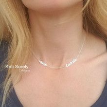 Dainty Names Necklace - Personalize It with 2 Names - Choose Metal