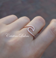 Dainty Wave Ring - Ocean Tide Ring - Choose Metal
