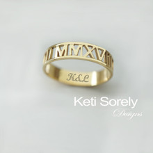 Custom Made Roman Numeral Ring With Engraving - Choose Metal