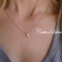 Mini Cross Necklace with CZ Stones - Solid Gold