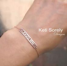 Roman Numeral Bar Bracelet  - Choose Metal