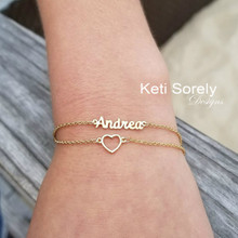 Layered Name Bracelet or Anklet with Heart  - Choose Your Metal