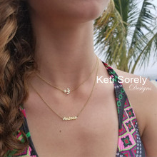 Layered Anchor Necklace with Your Name - Choose Your Metal