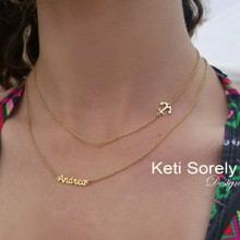 Sideways Anchor Necklace With Layered Name - Choose Your Metal