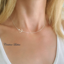 Sideways Anchor Necklace - Choose Your Metal