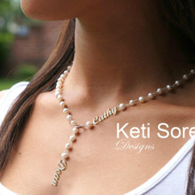 Freshwater Pearls Lariat Necklace With Names - Choose Metal