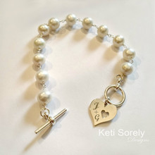 Freshwater Pearl Bracelet with Engraved Heart Charm - Choose Metal