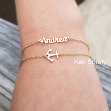 Layered Name Bracelet or Anklet with Anchor  - Choose Your Metal