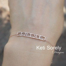 Personalized Bar Bracelet With Frame - Choose Metal
