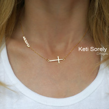 Dainty Cross Necklace With Sideways Name -  Choose Your Metal