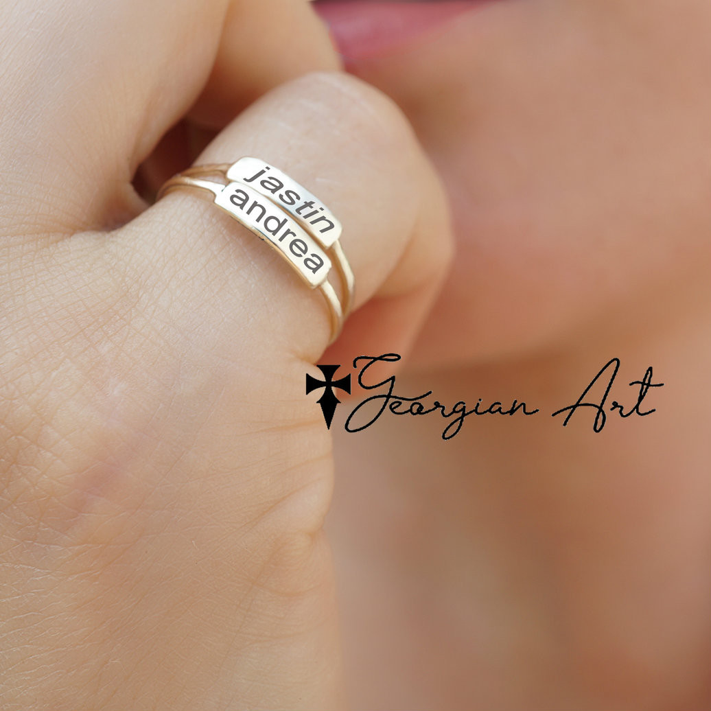 56ed55bb9842f Personalized Stacking Ring With Name or Initials - Choose Your Metal