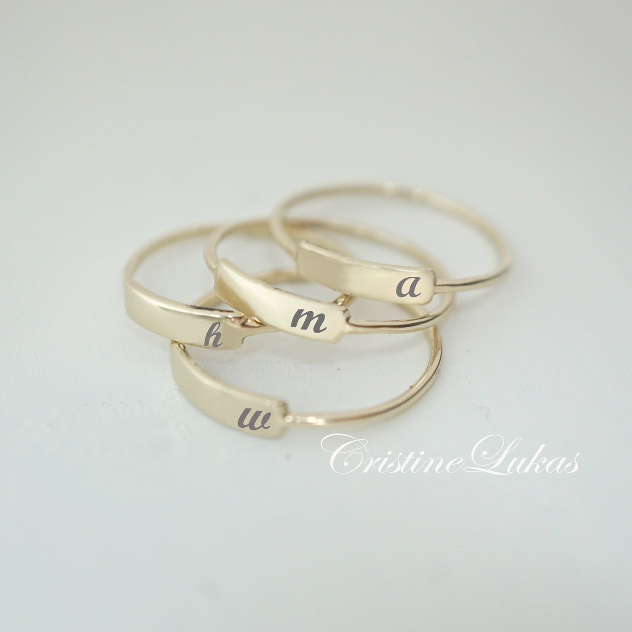 7e2b061da19c5 Engraved Stacking Ring With Name Initial - Choose Your Metal