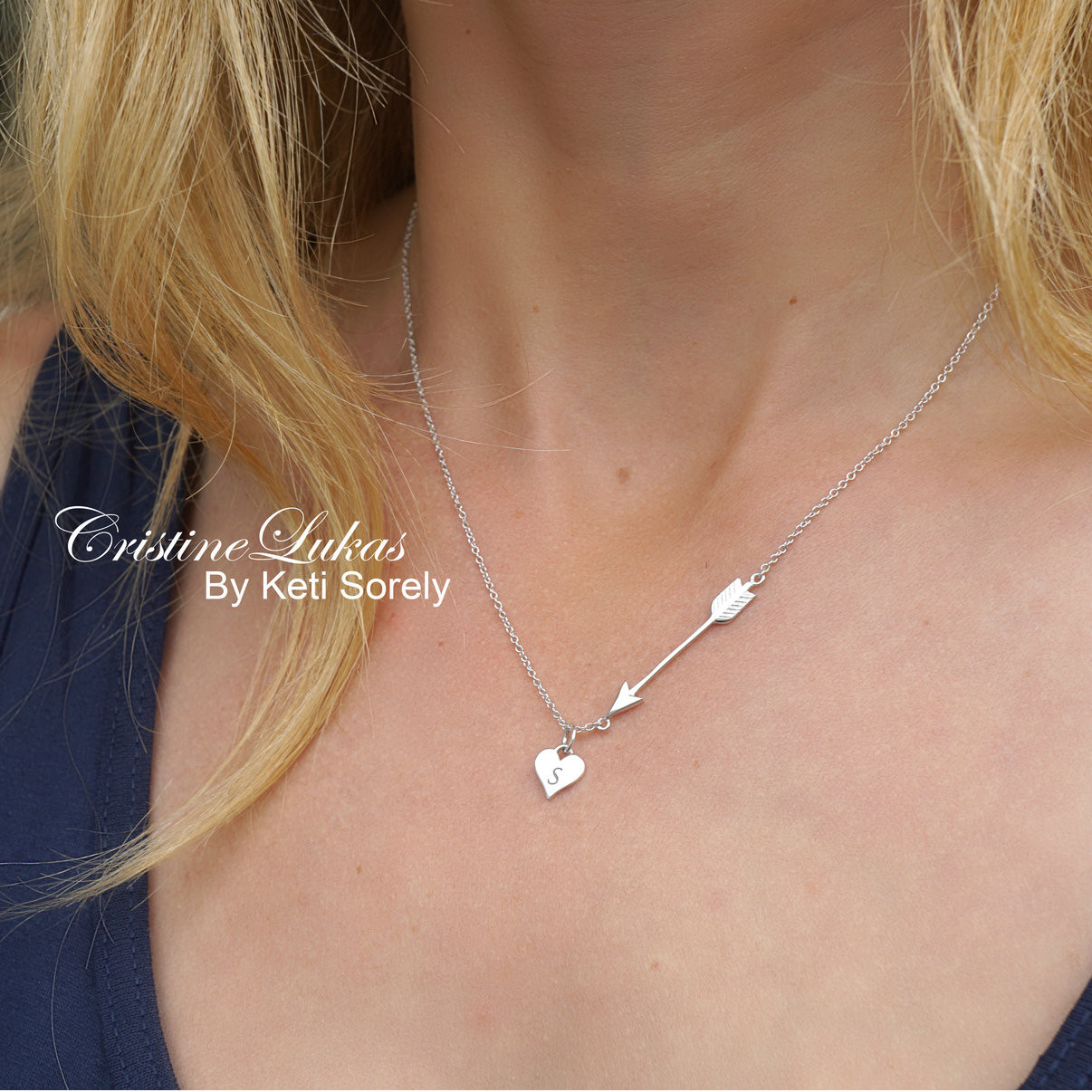 994b603cc037b Heart & Arrow Necklace With engraved Initial In Sterling Silver or Solid  Gold