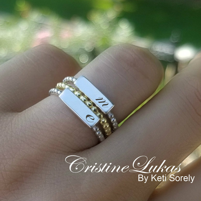 a939df7646b6a Engraved Stacking Rings Set With Name Initials - Choose Your Metal
