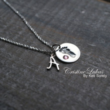 Baby Foot Print Charm Necklace With Initial & Birthstone