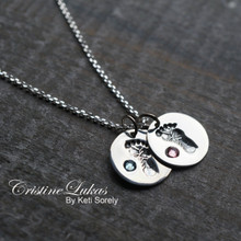 Baby Foot Print Family Charm Necklace With Initial & Birthstone
