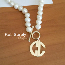 Freshwater Pearl Necklace with Modern Monogram Charm - Choose Your Metal