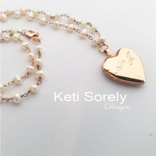 Personalized Locket Necklace With Cultured Pearls - Choose Your Metal